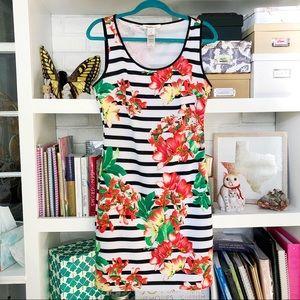 Striped Floral Scuba Dress